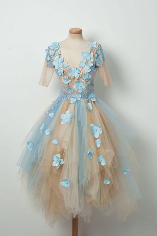Champagne Cute V Neck Half Sleeves Tulle Short Prom Dress with Blue Flowers,  Asymmetrical Homecoming Dresses