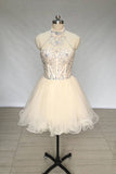 A Line High Neck Tulle Beading Mini Homecoming Dress, Short Prom Dress with Beads