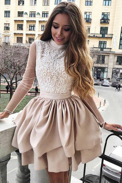 A Line High Neck Two Tiers Appliques Long Sleeves Short Homecoming Dress N1937