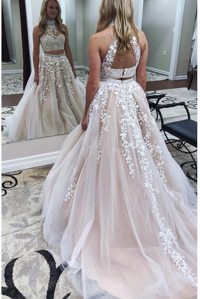 Two Pieces Lace Crop Top High Neck Appliques Tulle Prom Dresses with Beads 2018