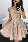A Line Round Neck Tulle Beading Homecoming Dresses, Applique Short Graduation Dress N1525