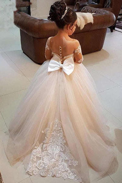 Gorgeous Long Sleeveless Appliqued Tulle Long Flower Girl Dress with Bow