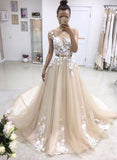 A-line Bateau Lace Appliqued Gold Sash Short Sleeves Wedding Dresses,Prom Dresses,N563