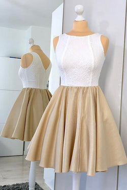 Champagne Simple Short Homecoming Dress with Lace, Modern A Line Ruched Satin Party Dress