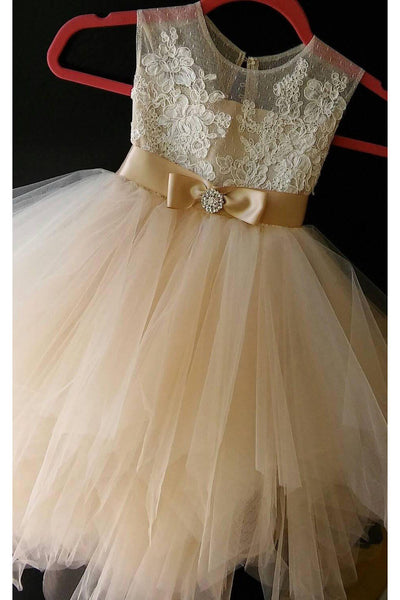 Cheap Champagne Tulle Flower Girl Dress with Lace, Cute Flower Girl Dress with Bow Belt F050