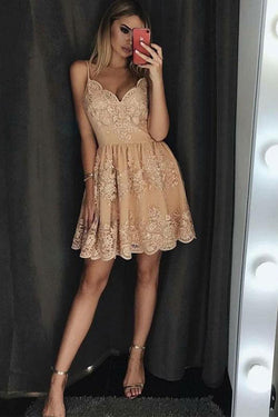Spaghetti Strap Short Prom Dress with Appliques, Lace Appliqued Homecoming Dresses N1530