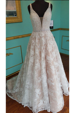 A Line Lace Wedding Dress with Beading, Strap V Neck Bridal Dress with Beading Waist
