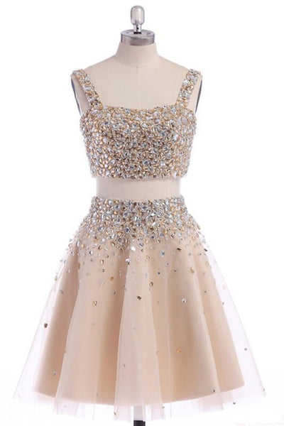 Two Piece Strap Homecoming Dress with Crystals, A Line Tulle Short Party Dress