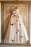 Champagne A-line Strapless Floor-length Ruched Tulle Wedding Dresses with Flowers,N492