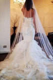 Luxury Mermaid Sweetheart Organza Chapel Train Tiered Sleeveless Wedding Dresses,N520