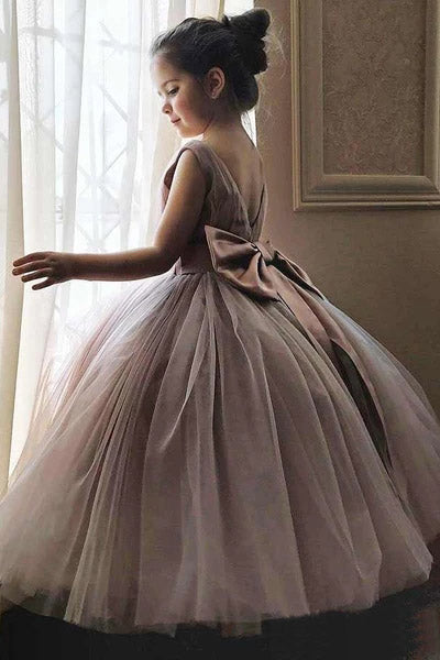 Cheap Cute Mauve Ball Gown Flower Girl Dresses with Bow on the Back F069