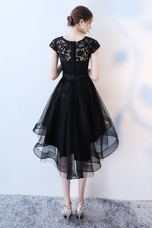 Black High Low Prom Dress, A Line Tulle Black Dress with Lace, Cap Sleeve Homecoming Dress N1104