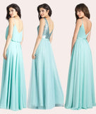 Turquoise A-line Floor-length V-neck Sleeveless Bridesmaid Dress Waterfall Party Gown,N613