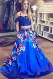 Two Piece Cold Shoulder Satin Royal Blue Prom Dress with Pockets, Fashion Formal Dress N811