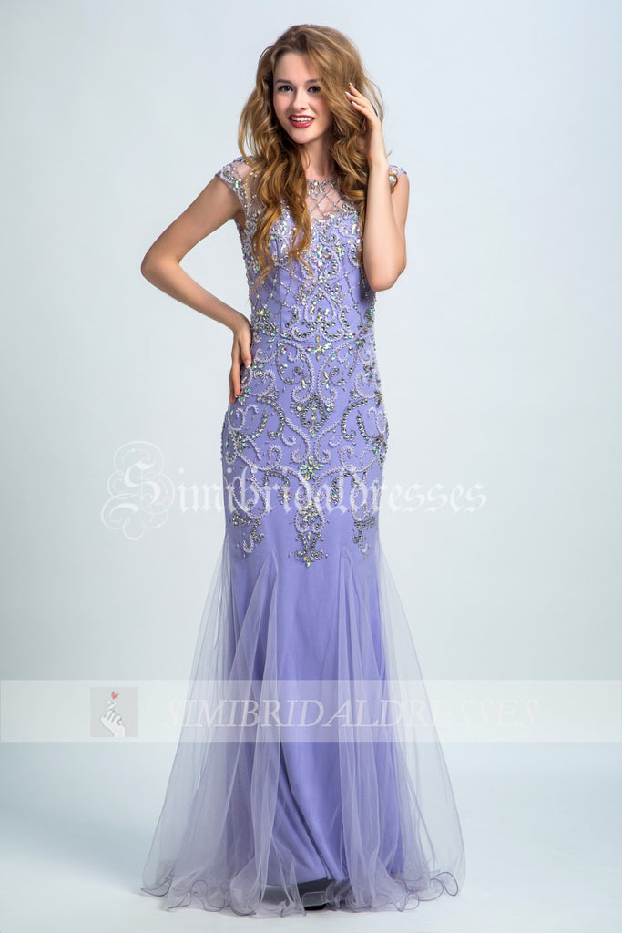 Cap Sleeves Prom Dress,Prom Gown with Crystals,Sheath Evening Dress,Tulle Prom Dresses,N161