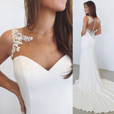 White Sheath Bateau Sleeveless Court Train Wedding Dress with Lace Illusion Back,N519