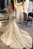 Trumpet V-neck Long Sleeves Court Train Lace Wedding Dresses, Mermaid Lace Bridal Dress