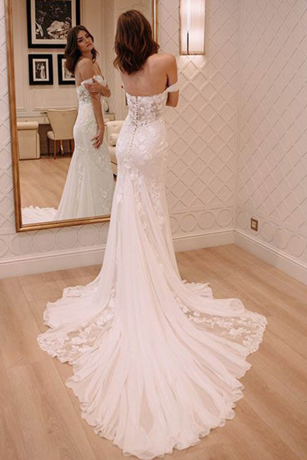Sexy Off Shoulder Appliqued Beach Wedding Dress with Court Train, Ivory Bridal Dress N991