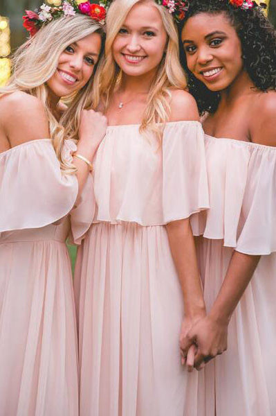 Off-the-shoulder Pastel Pink Ruffles Bridesmaid Dress,Long Chiffon Bridesmaid Gowns,Floor-length Bridesmaid Dress,Sweet Long Prom Dresses,N139