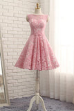 A Line Short Lace Homecoming Dress with Belt, Pink Short Ruched Prom Dress