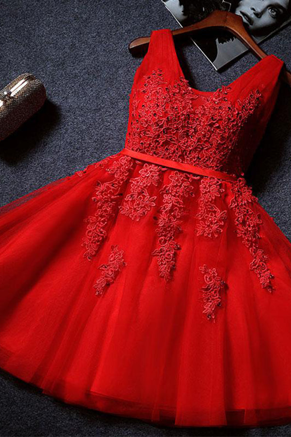 Red Cute V Neck Sleeveless Appliques Tulle Homecoming Gown, A Line Short Prom Dress
