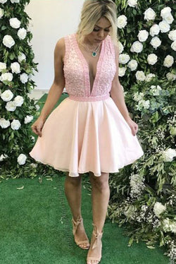 Cute Deep V Neck Sleeveless Above Knee Homecoming Dresses, Sexy Short Prom Dress N1917