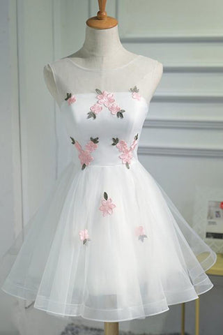A Line Cheap Tulle Graduation Dress with Pink Appliques,Short Sleeveless Prom Dress