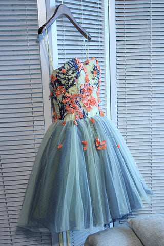 Unique Sweetheart Tulle Mini Homecoming Dress with Flowers,A Line Short Prom Gown