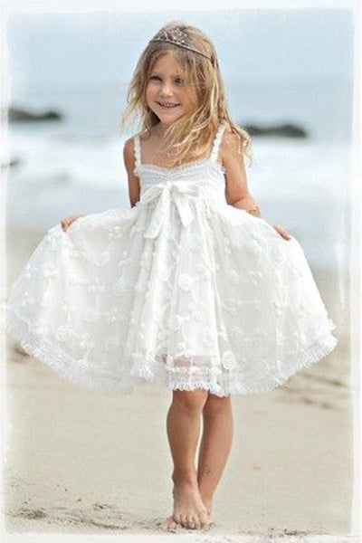 Straps Lace Flower Girl Dress, Cute Knee Length Lace Flower Girl Dresses F074