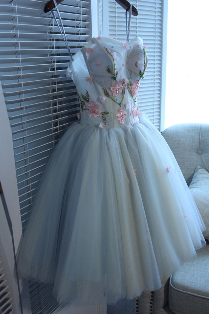 Beautiful Sweetheart Tulle Graduation Dress with Flowers, A Line Strapless Cute Homecoming Dress