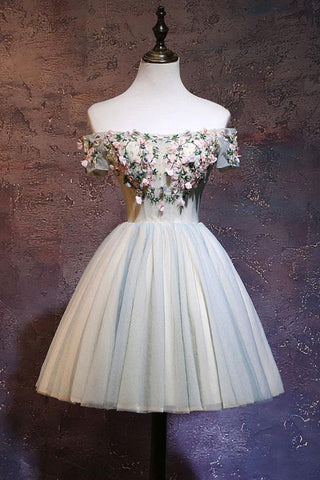 Cute Off the Shoulder Tulle Homecoming Dress, A Line Short Prom Dress with Flowers