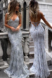 Silver Spaghetti Straps V-neck Mermaid Sparkly Tulle Evening Dress,Long Prom Gowns,N476