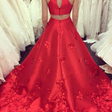 A-Line Red Jewel Keyhole Back Sleeveless Sweep Train Satin Prom Dress with Appliques,N474