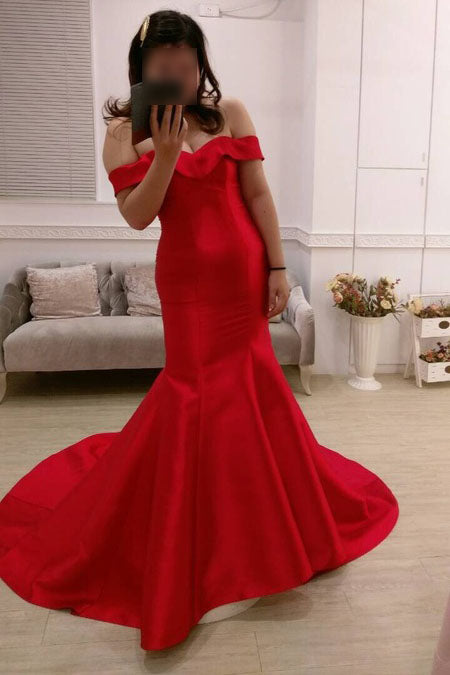 Red Off-the-shoulder Mermaid Sweep Train Satin Evening Dress,Party Gown,Red Dresses,N451