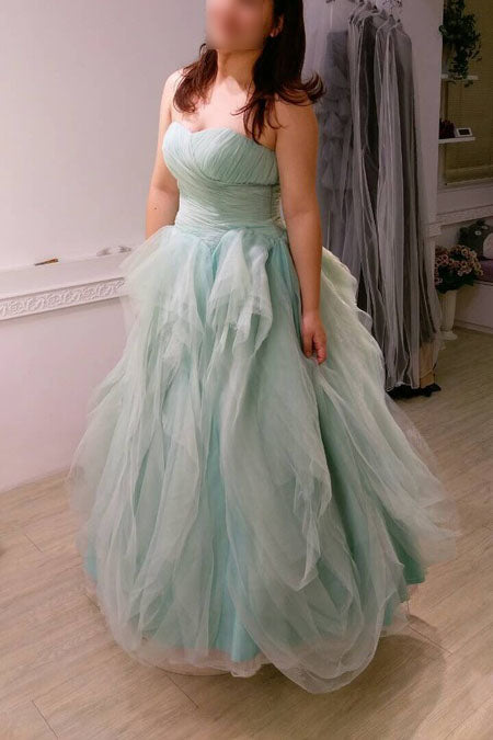 Unique Plus Size Strapless Floor-length Tulle Prom Dress,Long Evening Gowns,N450