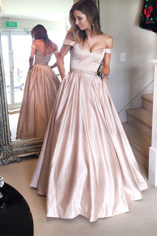A-line Off the Shoulder Satin Prom Dresses With Beading,Long Ruffles Party Dress,Simple Prom Gown,Formal Dress,Prom Dress 2017,Pageant Dresses,Graduation Dresses 2017,Senior Prom Dress,N92