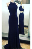 Sexy Sleeveless Prom Dress,Navy Blue Long Prom Dresses,Evening Dress,Formal Evening Gown N71