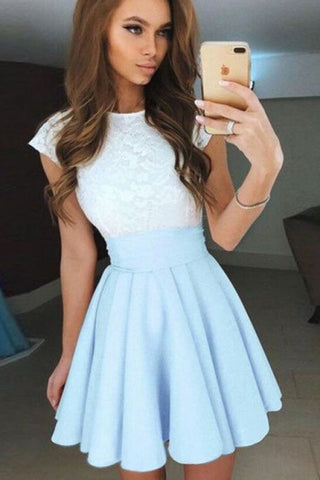 de71a81c5bb Pale Blue Cap Sleeves Short Chiffon Homecoming Dress