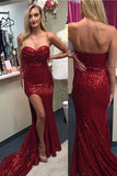 Strapless Mermaid Sweetheart Split-Front Prom Gown,Red Long Prom Dress with Sequined,N76