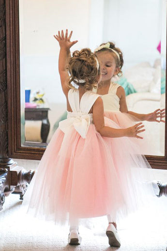 Cute Straps A-line Pink Long Tulle Flower Girl Dress,Sleeveless Flower Girl Dresses,F011