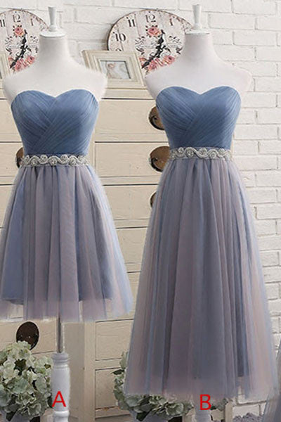 Sweetheart Neckline Bridesmaid Dress,Short Bridesmaid Gown,Prom Dress,Tea-Length Tulle Bridesmaid Dresses,2017 Short Prom Dress with Beading Waist,N140
