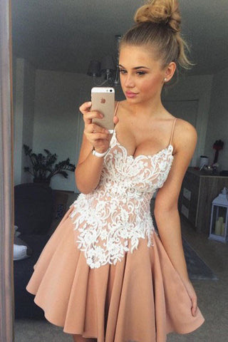 Stylish A-Line Spaghetti Straps Short Satin Homecoming Dress with White Lace Applique