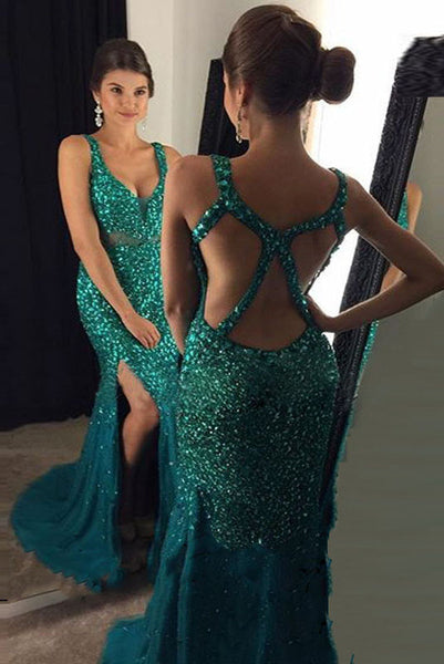 Prom Dress 2017,Beading Emerald Green Prom Dress,Sexy Backless Prom Dress,Long Prom Dress,Sexy Mermaid Side Split Evening Party Gown N72