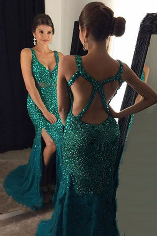 Beading Emerald Green Prom Dress,Sexy Backless Prom Dress,Mermaid Split Party Gown N72