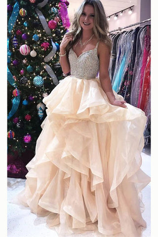 Luxurious Straps V-neck Beading Bodice Tulle Long Prom Dress with Layers,N690