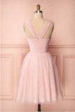 Pink Vintage Straps Tulle Knee Length Homecoming Dress, Straps Graduation Dresses N1013