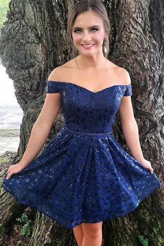 1f576634d44d Dark Blue Off the Shoulder Lace Homecoming Dresses, Sexy Lace Short Prom  Dress N1799 – Simibridaldress