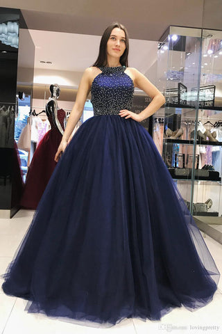 7e53e03d2 Sparkly Dark Blue Ball Gown Sweet Beading Tulle Long Prom Dresses, Shiny Evening  Dress N1328 – Simibridaldress
