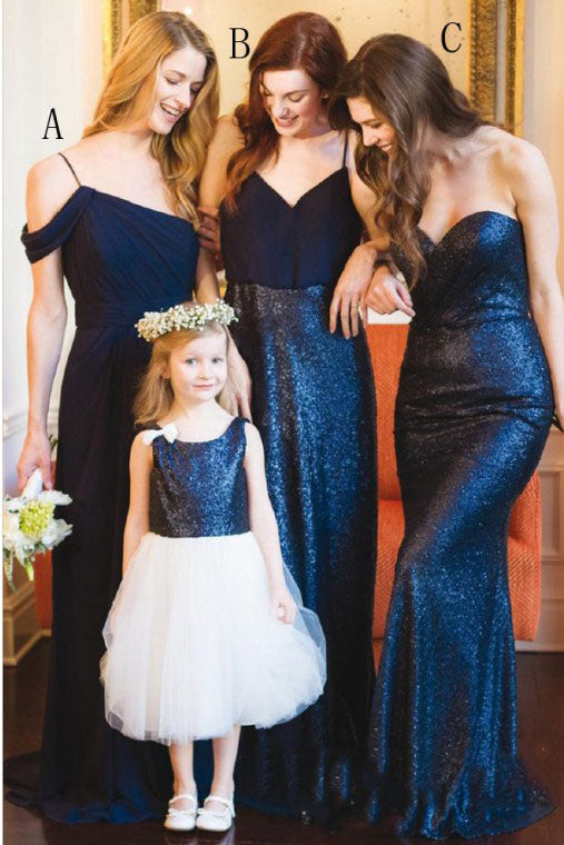 Dark Blue Long Chiffon Bridesmaid Dress with Sequin, Cheap Bridesmaid Dresses N2461