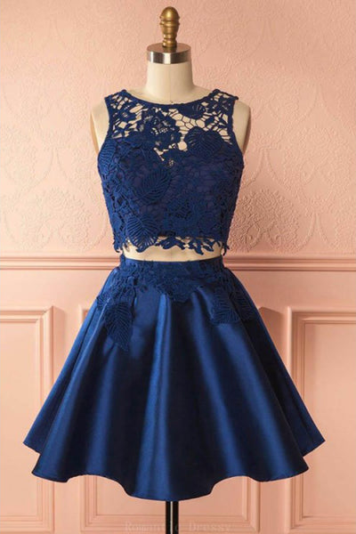 Two Piece Dark Blue Sleeveless Satin Short Homecoming Dress with Lace Appliques N769